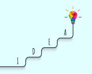 Creativity concept with step by step arriving to the idea and success. Abstract colorful light bulb design.