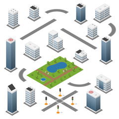 Set of isometric buildings, roads, park and traffic light.