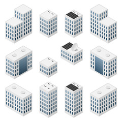 Set of isometric modern white buildings with blue windows.
