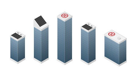 Set of isometric modern white skyscrapers with blue windows.