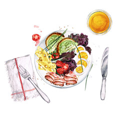 Breakfast or lunch food platter. Watercolor Illustration