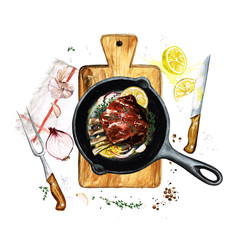 Ribs in a frying pan. Watercolor Illustration