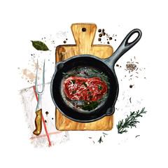 Steak in a frying pan. Watercolor Illustration
