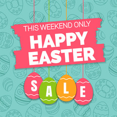 Happy easter spring sale offer, banner template.