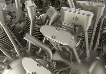 3D render - car engine detail