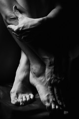 Perfect feet and hands, black and white, abstract