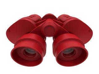 3D render illustration of a pair of red binoculars.