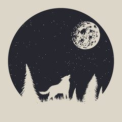 Vintage label with wolf who howling to moon