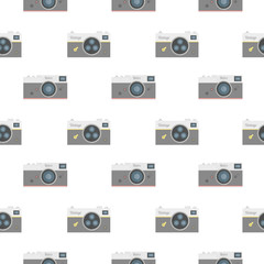 Retro photo camera seamless pattern.