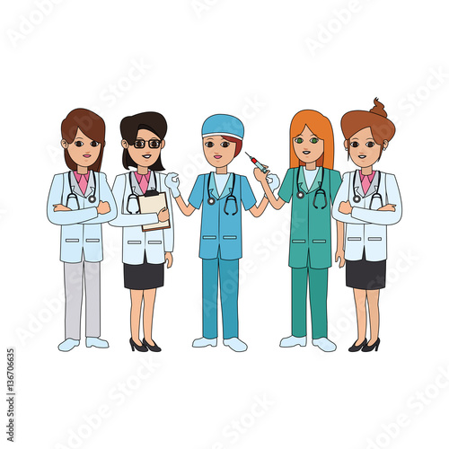group of physicians medical doctor icon image vector illustration