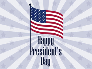 Happy Presidents Day. Banner with american flag and text. Vector illustration
