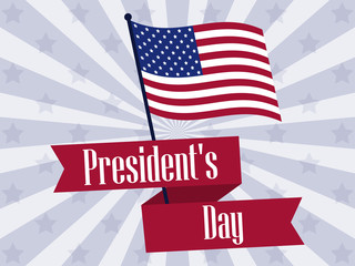 Happy Presidents Day. Retro banner with american flag and text. Vector illustration