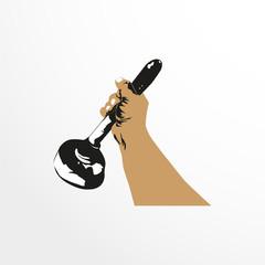 Plunger in hand. Vector illustration.