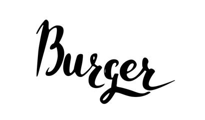 Vector handwritten brush script. Black letters isolated on white background. Burger