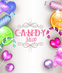 candy shop background with sweet candy, sweetmeats, lollipops.  Vector illustration