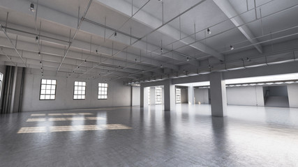 Empty factory interior. 3d render, 3d illustration.