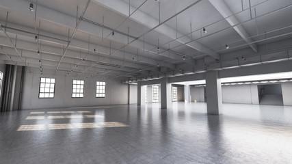 Empty factory interior. 3d render, 3d illustration.
