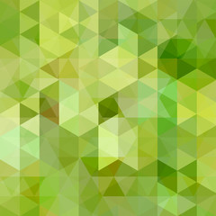 Abstract green mosaic background. Triangle geometric background. Design elements. Vector illustration.