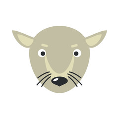 Rat Face Vector Illustration in Flat Design
