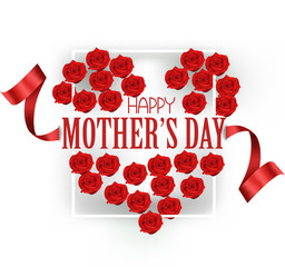 Happy mother's Day greeting card with heart shaped bunch of red roses and frame. Vector illustration