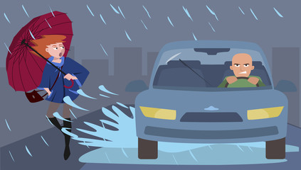 car splashes pedestrian, illustration of discourtesy