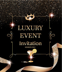 Luxury event invitation card with vintage frame and gold textured curly ribbon. Vector illustration