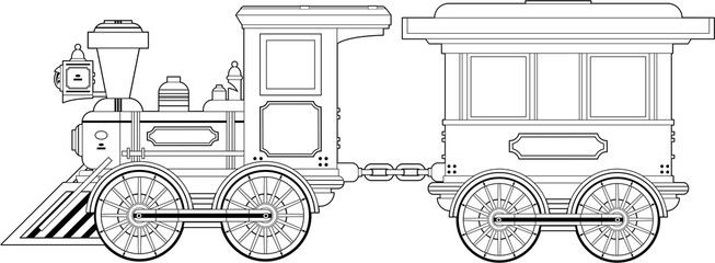 Cartoon Wild West Style Steam Train in Outline