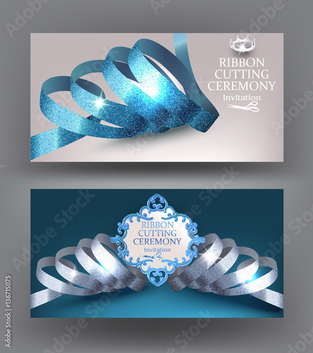 Ribbon Cutting Ceremony Cards With Blue Shiny Curly Gold Sparkling