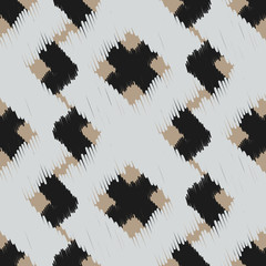 Ikat scribble swabs vector seamless pattern. Abstract geometric background for fabric, print or wrapping paper. Beige, black and gray design.
