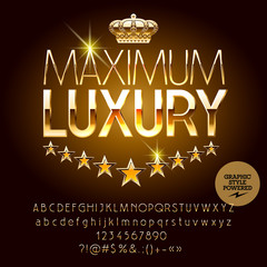 Vector royal casino golden logo Maximum luxury. Set of letters, numbers and symbols. Contains graphic style