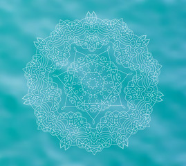 Blue water tribal background with white mandala