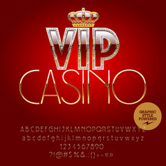 Vector royal casino golden sign Vip casino. Set of letters, numbers and symbols. Contains graphic style
