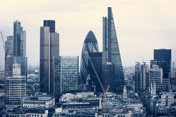 Fotobehang Londen City of London business aria view at sunset. View includes Gherkin and modern skyscrapers of leading financial companies