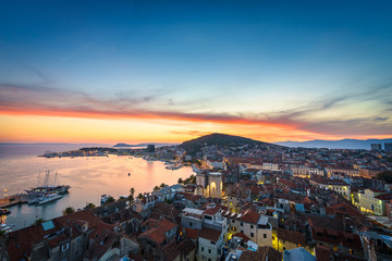 Split waterfront and Marjan hill aerial view, Dalmatia, Croatia in the sunset