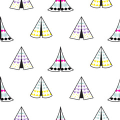 Indian teepee white vector white seamless pattern. Minimalistic style background for baby textile fabric and apparel.