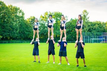 Cheerleader Team Practicing
