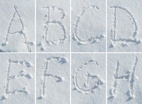 English alphabet in the snow - font set
