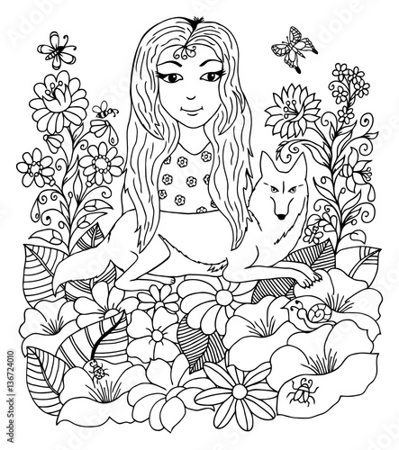 Vector Illustration Girl With A Wolf Surrounded By Flowers Work Made Hand Book