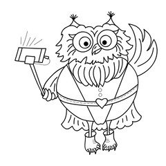 Cute cartoon owl. Owl Taking selfi photo. Doodles art. Printing on T-shirts, banners, posters, cover. Coloring page book for adults and children.