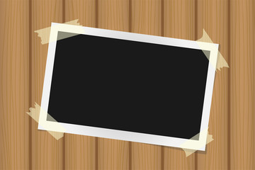Square frame template on sticky tape with shadows on brown wooden texture. Vector illustration