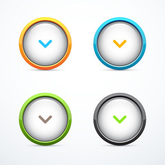 Set of round download buttons