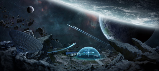 Observatory station in space 3D rendering elements of this image