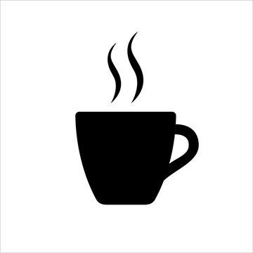 Espresso icon. Strong coffee in espresso cup and smoke. Vector Illustration