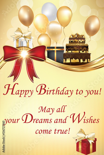 Birthday greeting card - May all your Dreams and Wishes come