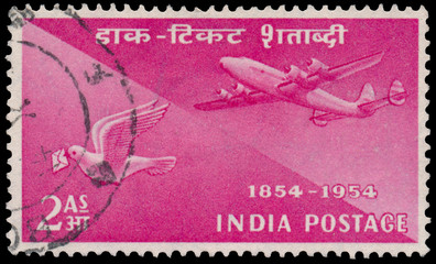 Stamp printed by India shows plane and pigeon