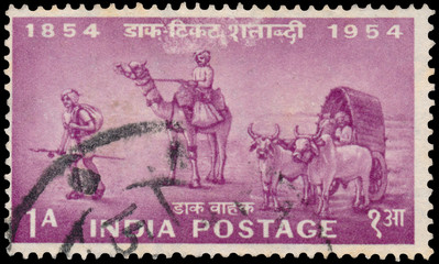 Stamp printed in India shows indian postal workers