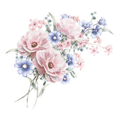 watercolor flowers. floral illustration in Pastel colors  rose. bunch of pink, blue flowers isolated on white background. herbs, Leaf. Cute composition for wedding or greeting card. romantic bouquet