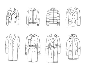 Hand drawn vector clothing set. 8 models of trendy men's coats and jackets isolated on white.