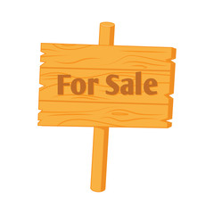 "Wooden sign ""For Sale"". Vector illustration isolated on white."