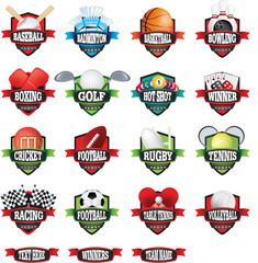 Sports teams names badges or logos as shields in colour